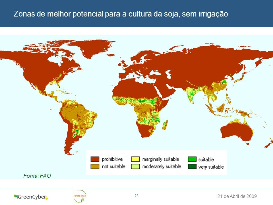 Zonas de melhor potencial para a cultura da soja, sem irrigação
