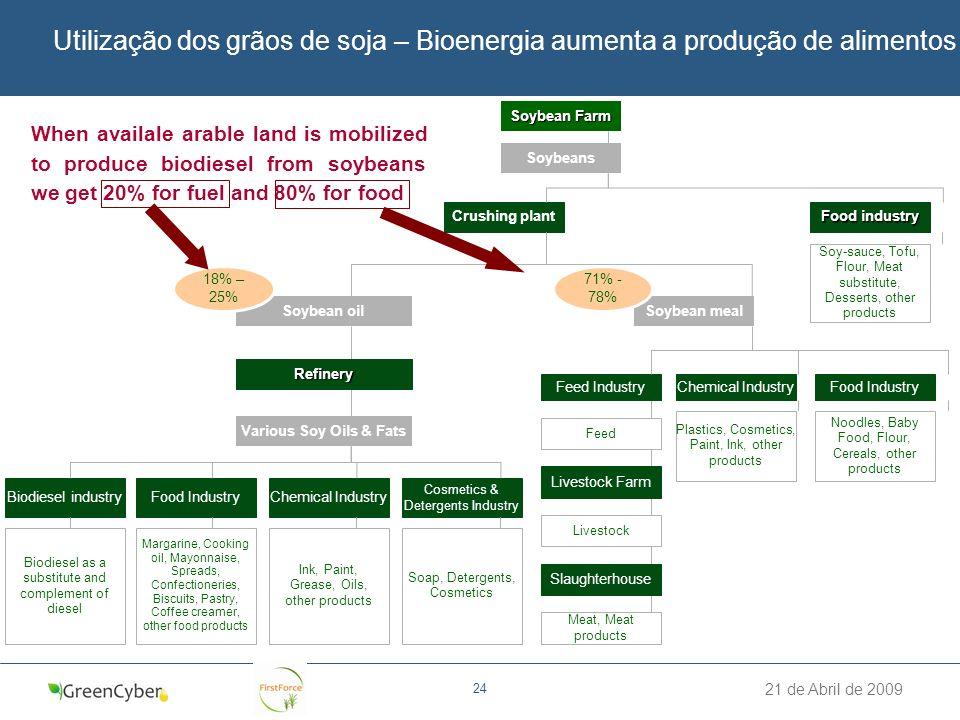 Utilização dos grãos de soja – Bioenergia aumenta a produção de alimentos