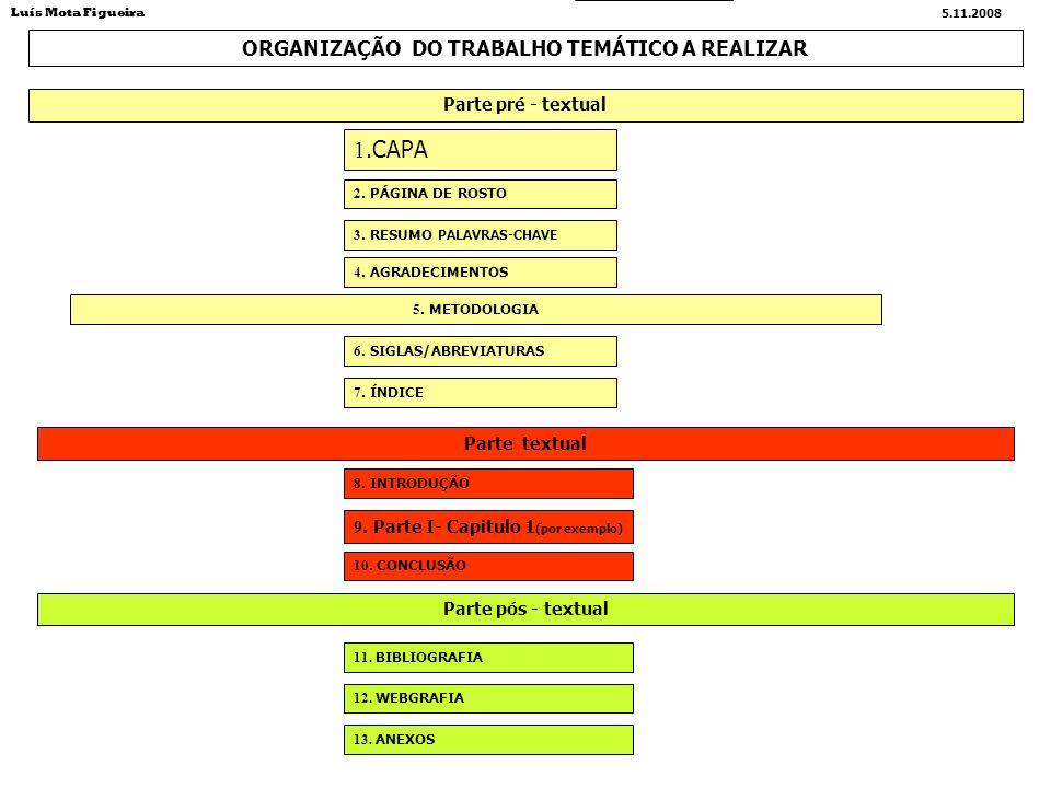 ORGANIZAÇÃO DO TRABALHO TEMÁTICO A REALIZAR