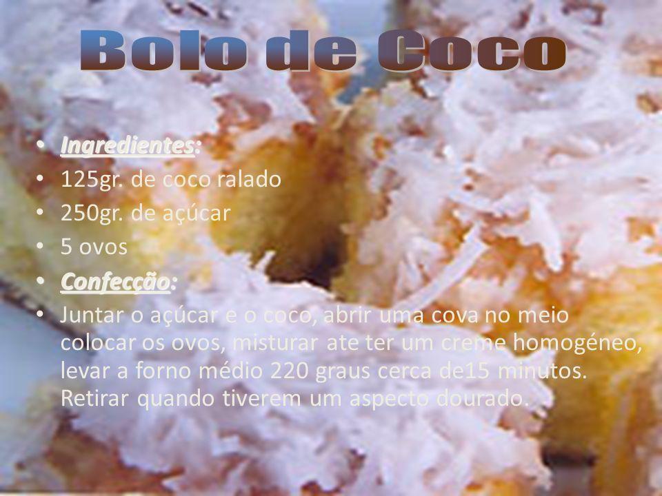 Bolo de Coco Ingredientes: 125gr. de coco ralado 250gr. de açúcar