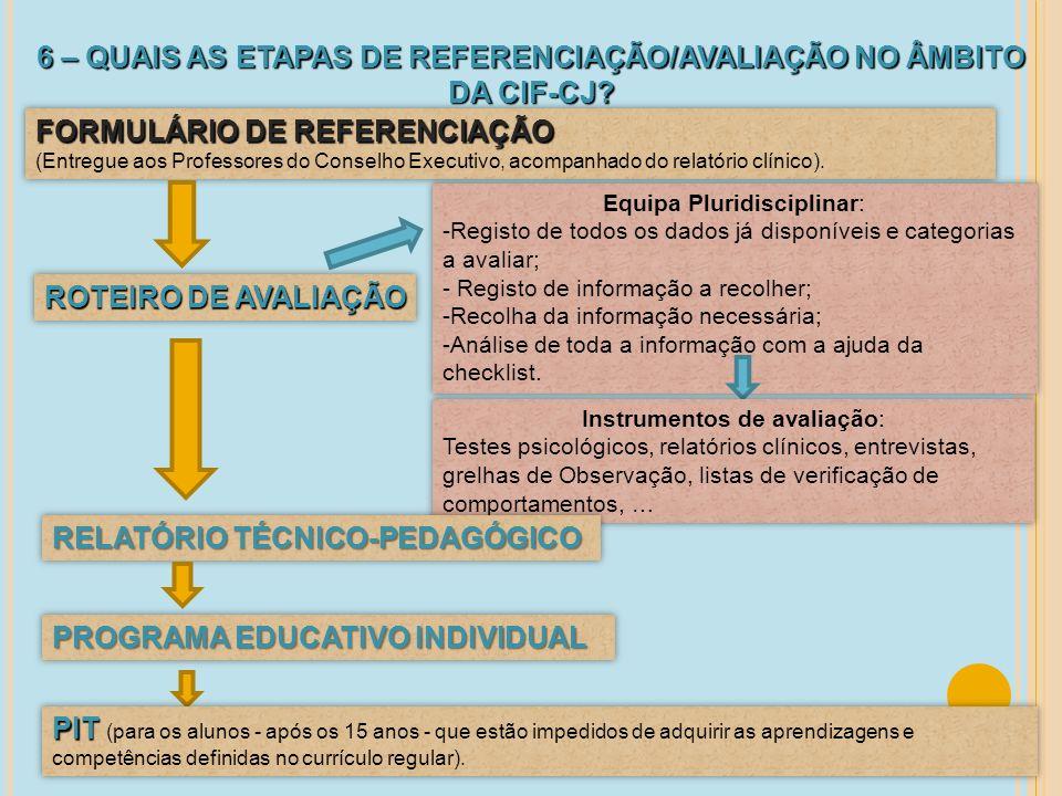 6 – QUAIS AS ETAPAS DE REFERENCIAÇÃO/AVALIAÇÃO NO ÂMBITO DA CIF-CJ
