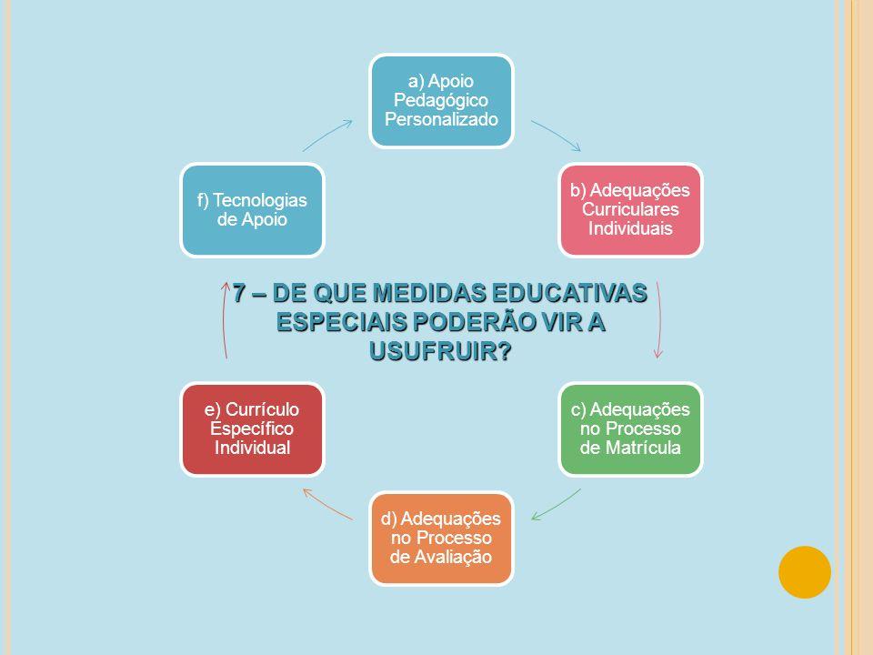 7 – DE QUE MEDIDAS EDUCATIVAS ESPECIAIS PODERÃO VIR A USUFRUIR