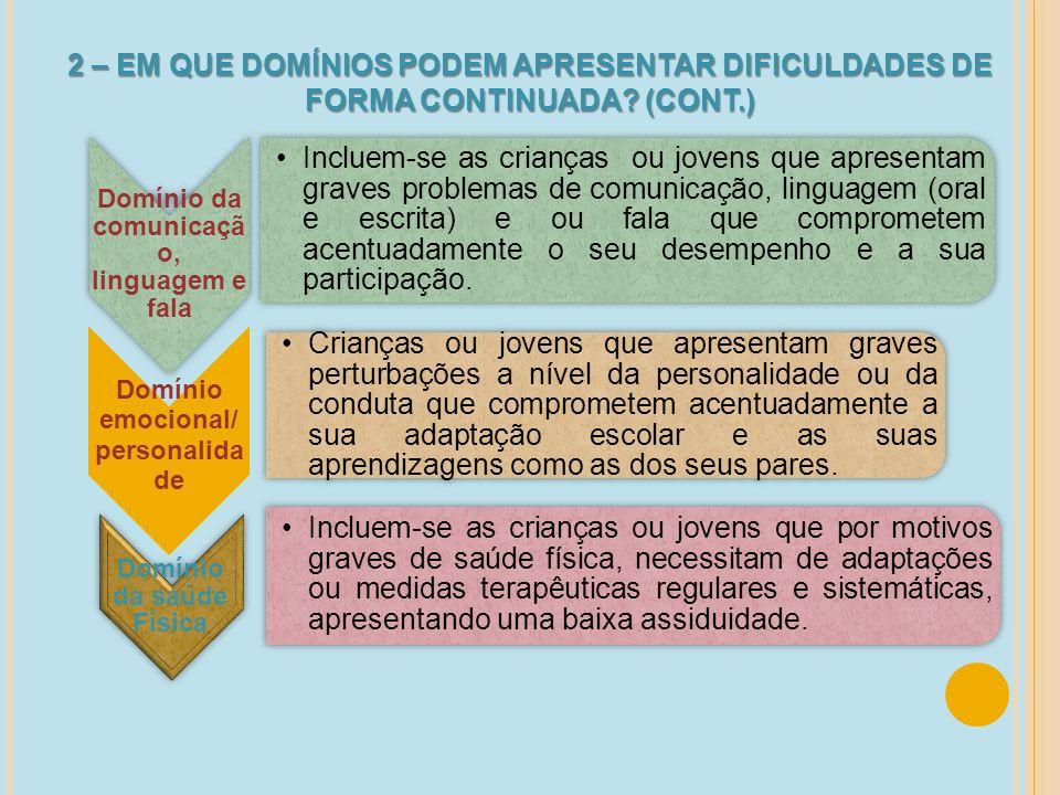 Domínio da comunicação, linguagem e fala Domínio da saúde Física