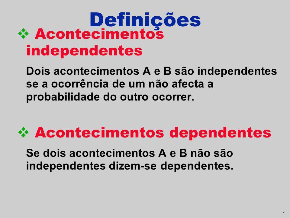Definições Acontecimentos independentes Acontecimentos dependentes