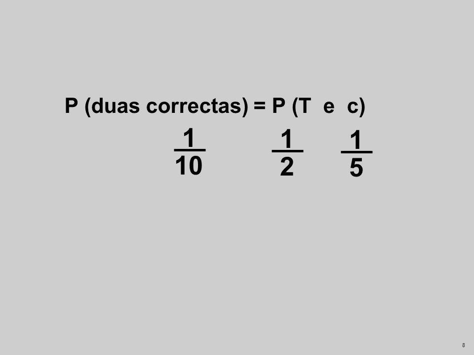 25-03-2017 P (duas correctas) = P (T e c) 1 10 1 1 2 5