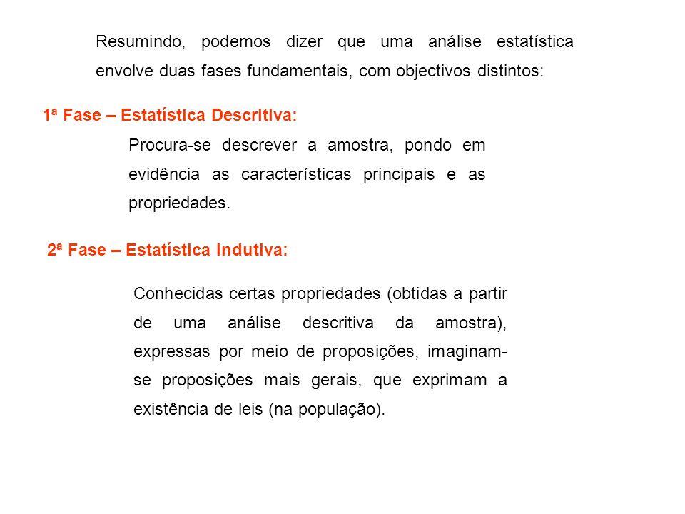 Resumindo, podemos dizer que uma análise estatística envolve duas fases fundamentais, com objectivos distintos: