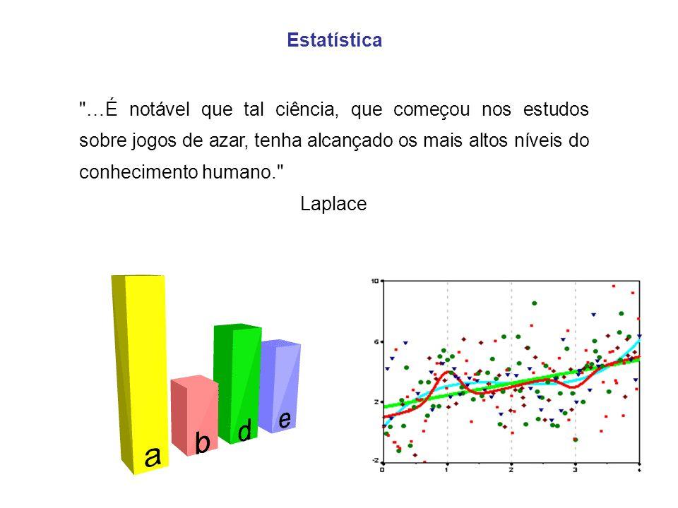 Estatística …É notável que tal ciência, que começou nos estudos sobre jogos de azar, tenha alcançado os mais altos níveis do conhecimento humano.