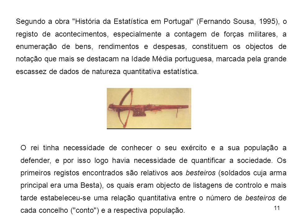 Segundo a obra História da Estatística em Portugal (Fernando Sousa, 1995), o registo de acontecimentos, especialmente a contagem de forças militares, a enumeração de bens, rendimentos e despesas, constituem os objectos de notação que mais se destacam na Idade Média portuguesa, marcada pela grande escassez de dados de natureza quantitativa estatística.