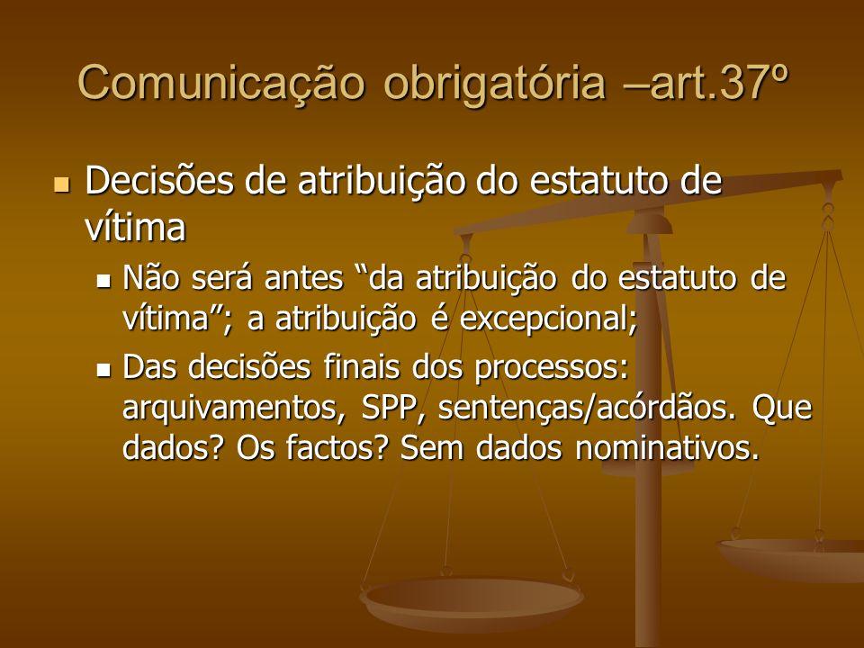 Comunicação obrigatória –art.37º