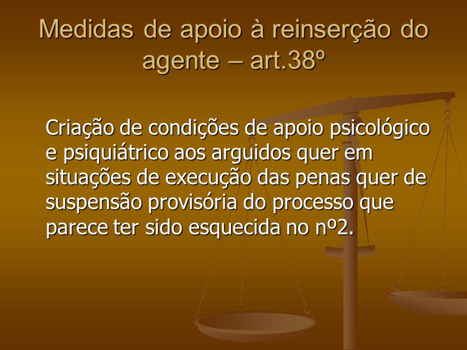 Medidas de apoio à reinserção do agente – art.38º