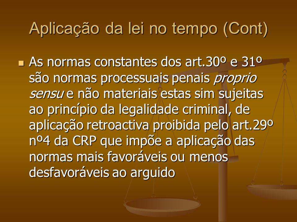 Aplicação da lei no tempo (Cont)