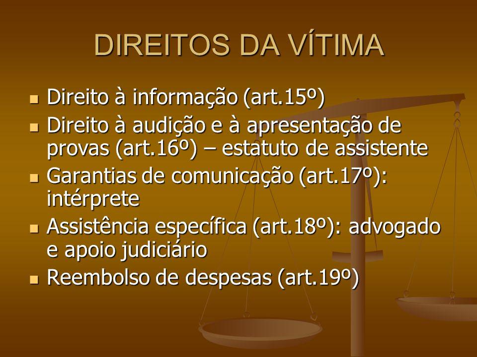 DIREITOS DA VÍTIMA Direito à informação (art.15º)