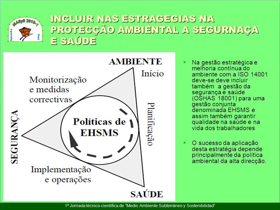 INCLUIR NAS ESTRAGEGIAS NA PROTECÇÃO AMBIENTAL A SEGURNAÇA E SAÚDE