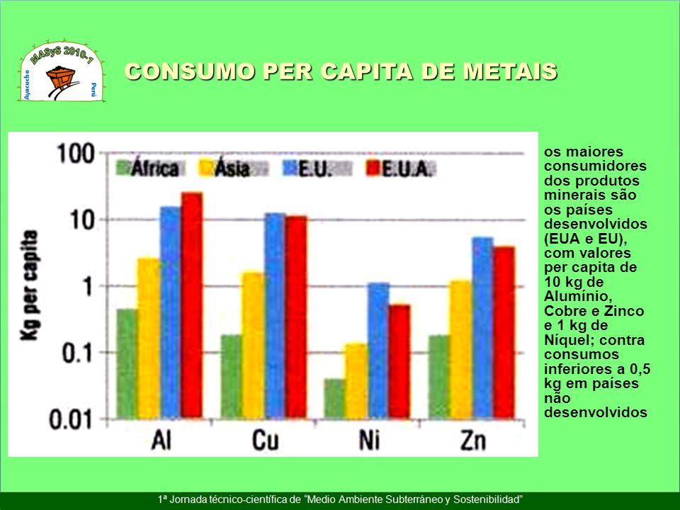 CONSUMO PER CAPITA DE METAIS