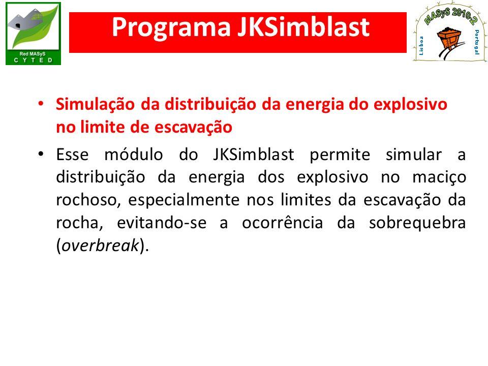 Programa JKSimblast Simulação da distribuição da energia do explosivo no limite de escavação.