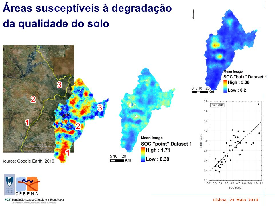 Áreas susceptíveis à degradação da qualidade do solo