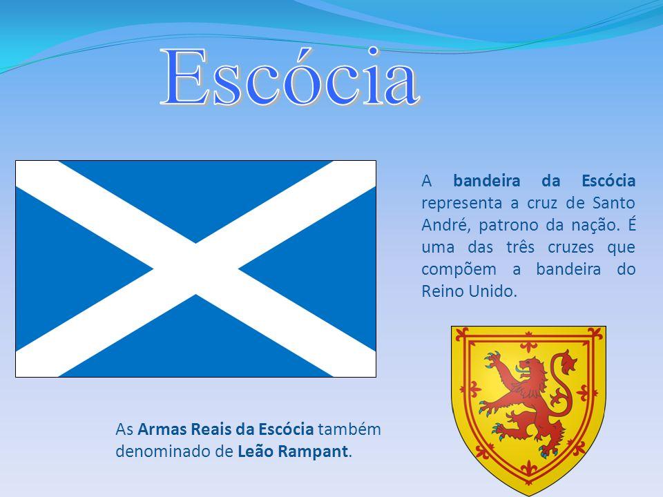 EscóciaA bandeira da Escócia representa a cruz de Santo André, patrono da nação. É uma das três cruzes que compõem a bandeira do Reino Unido.