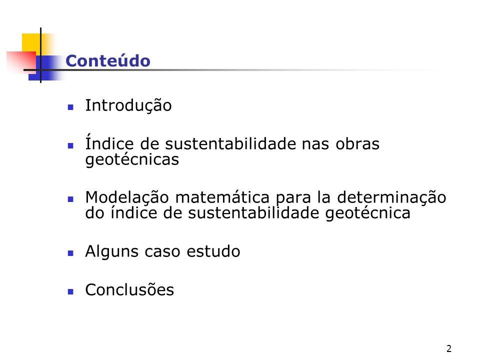 Conteúdo Introdução. Índice de sustentabilidade nas obras geotécnicas.