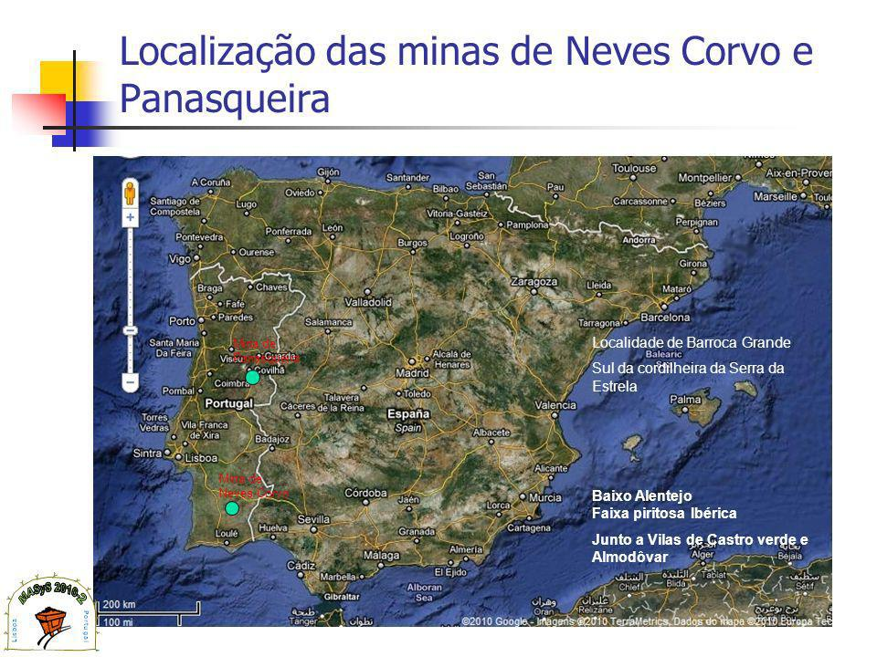 Localização das minas de Neves Corvo e Panasqueira