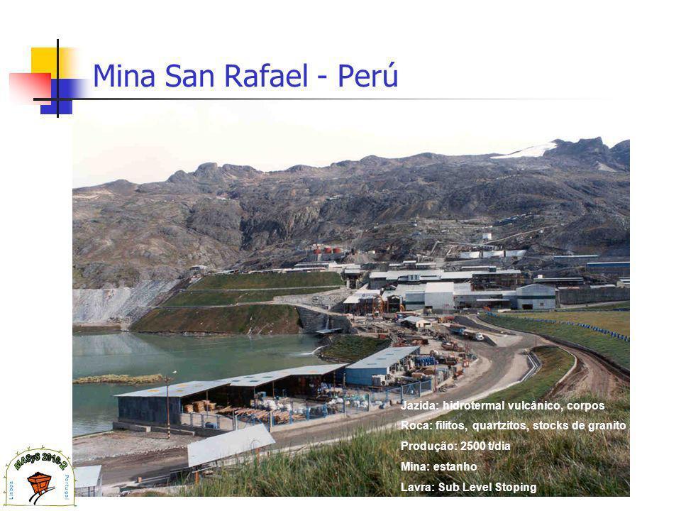 Mina San Rafael - Perú Jazida: hidrotermal vulcânico, corpos