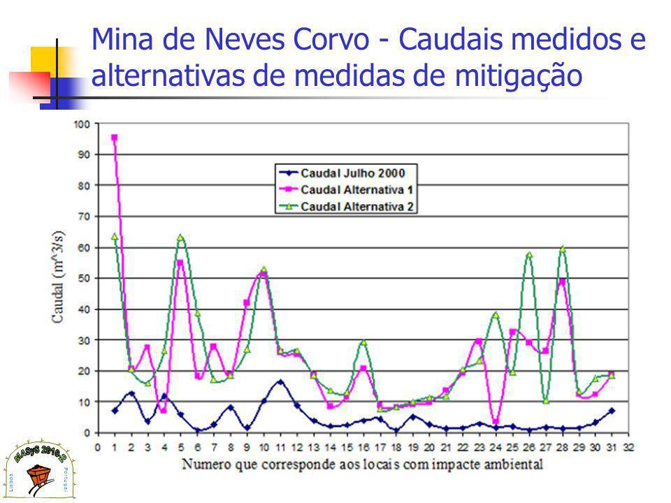 Mina de Neves Corvo - Caudais medidos e alternativas de medidas de mitigação