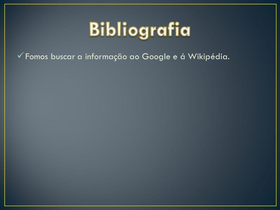 Bibliografia Fomos buscar a informação ao Google e á Wikipédia.