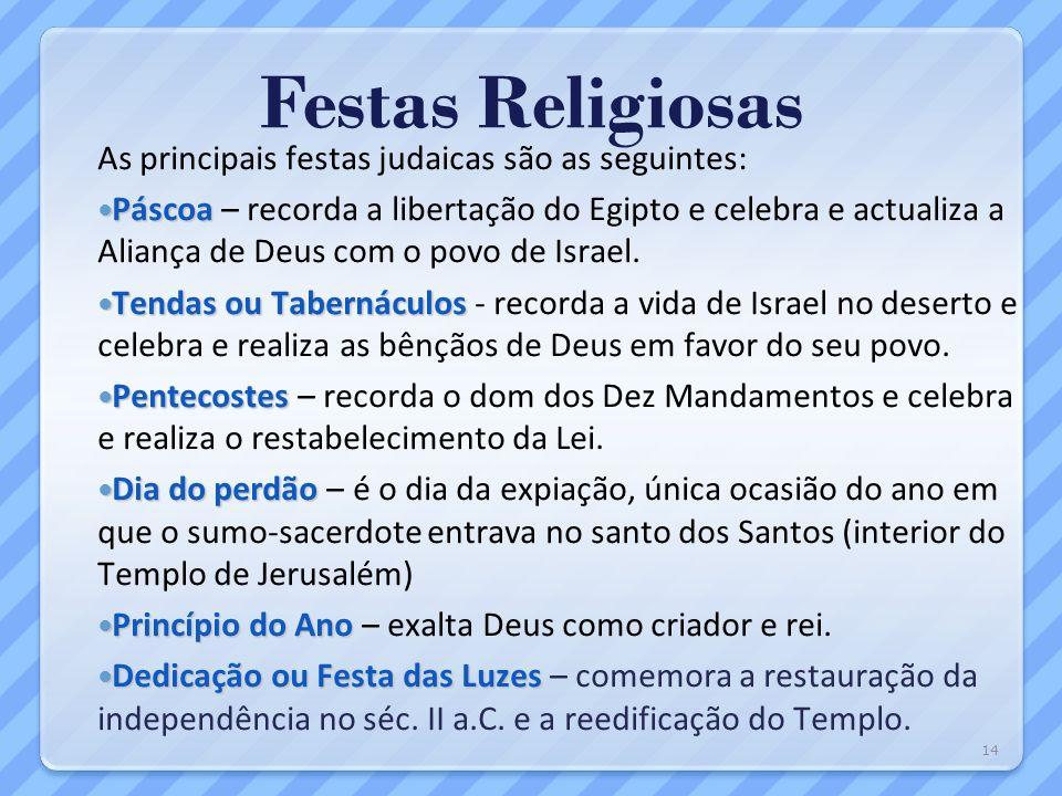 Festas Religiosas As principais festas judaicas são as seguintes: