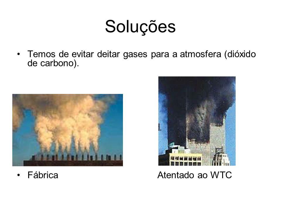 Soluções Temos de evitar deitar gases para a atmosfera (dióxido de carbono).
