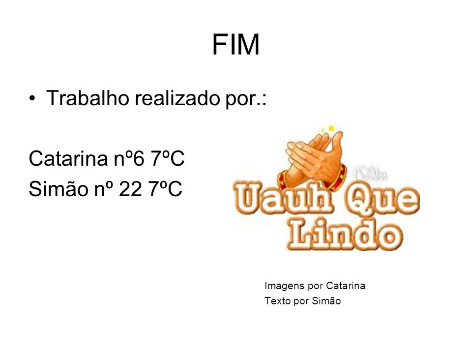 FIM Trabalho realizado por.: Catarina nº6 7ºC Simão nº 22 7ºC