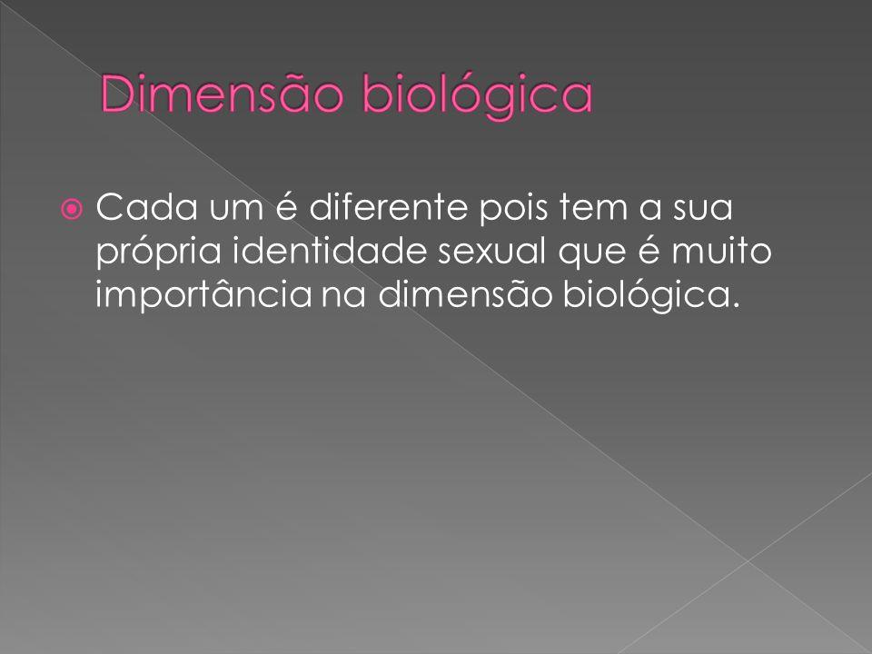 Dimensão biológica Cada um é diferente pois tem a sua própria identidade sexual que é muito importância na dimensão biológica.