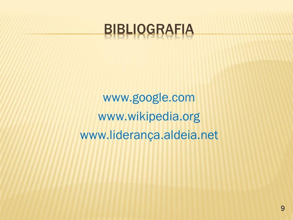 Bibliografia www.google.com www.wikipedia.org www.liderança.aldeia.net