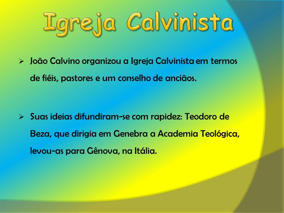 Igreja Calvinista João Calvino organizou a Igreja Calvinista em termos de fiéis, pastores e um conselho de anciãos.