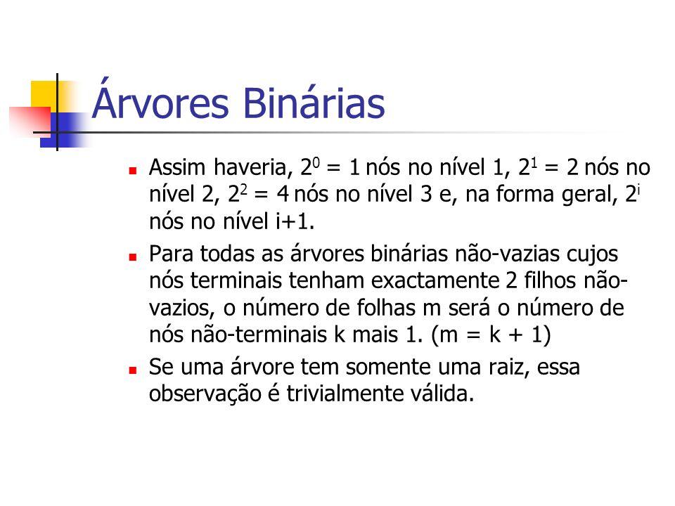 Árvores Binárias Assim haveria, 20 = 1 nós no nível 1, 21 = 2 nós no nível 2, 22 = 4 nós no nível 3 e, na forma geral, 2i nós no nível i+1.