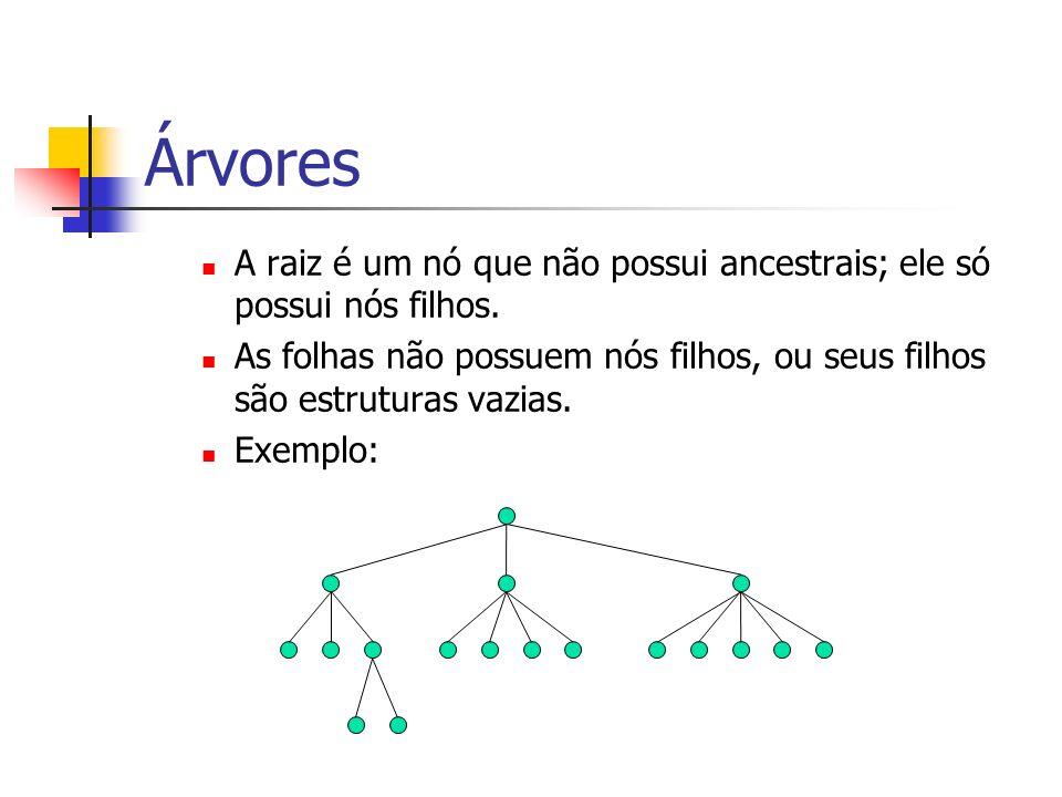 Árvores A raiz é um nó que não possui ancestrais; ele só possui nós filhos. As folhas não possuem nós filhos, ou seus filhos são estruturas vazias.