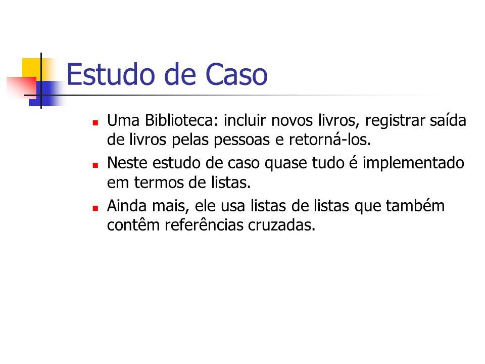 Estudo de Caso Uma Biblioteca: incluir novos livros, registrar saída de livros pelas pessoas e retorná-los.