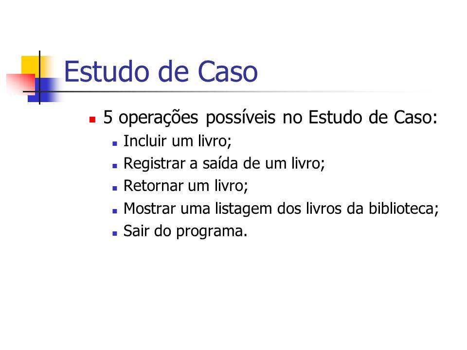 Estudo de Caso 5 operações possíveis no Estudo de Caso: