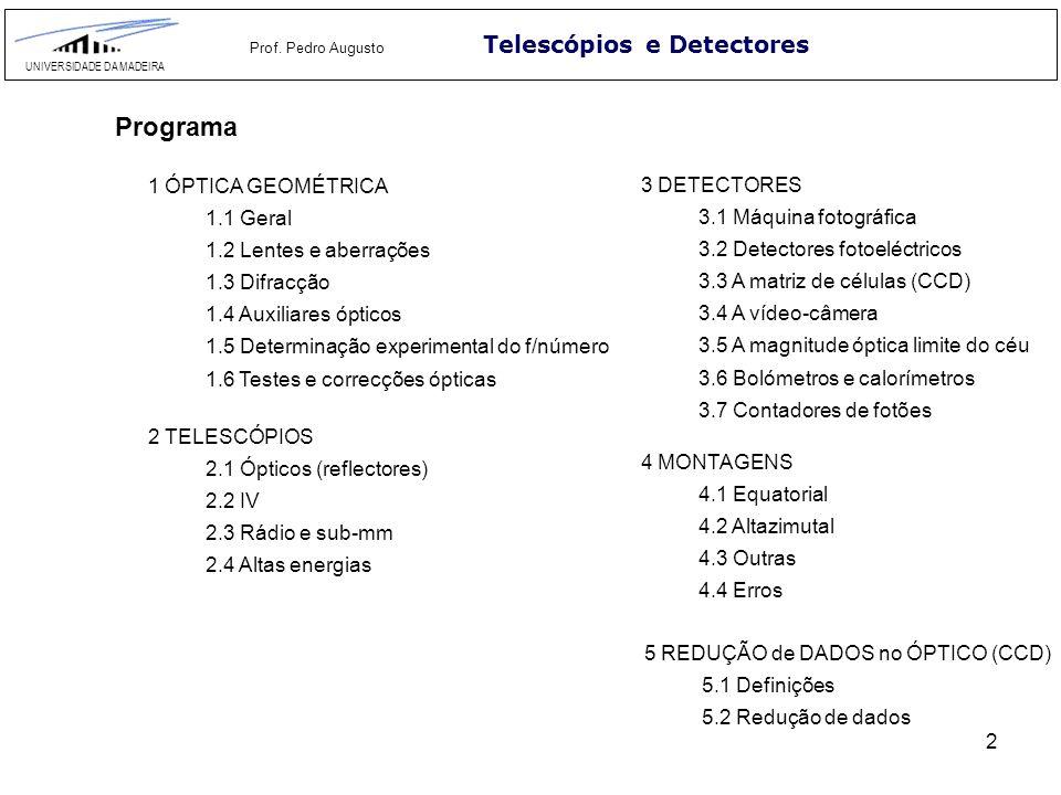 Programa Telescópios e Detectores 1 ÓPTICA GEOMÉTRICA 3 DETECTORES
