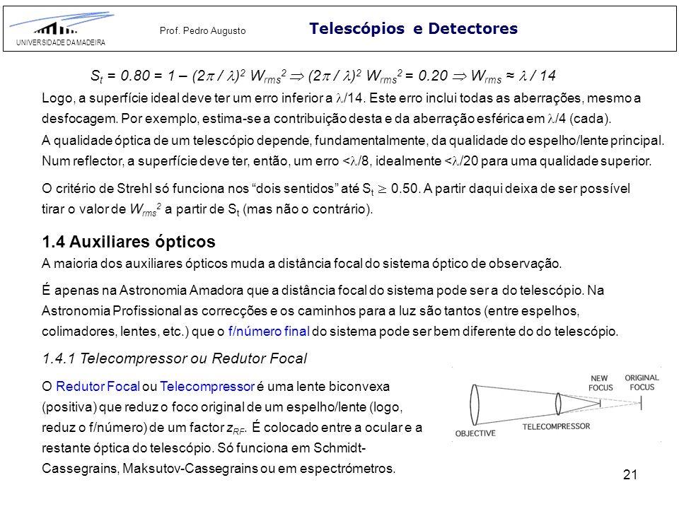 1.4 Auxiliares ópticos Telescópios e Detectores