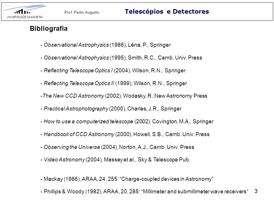 Bibliografia Telescópios e Detectores
