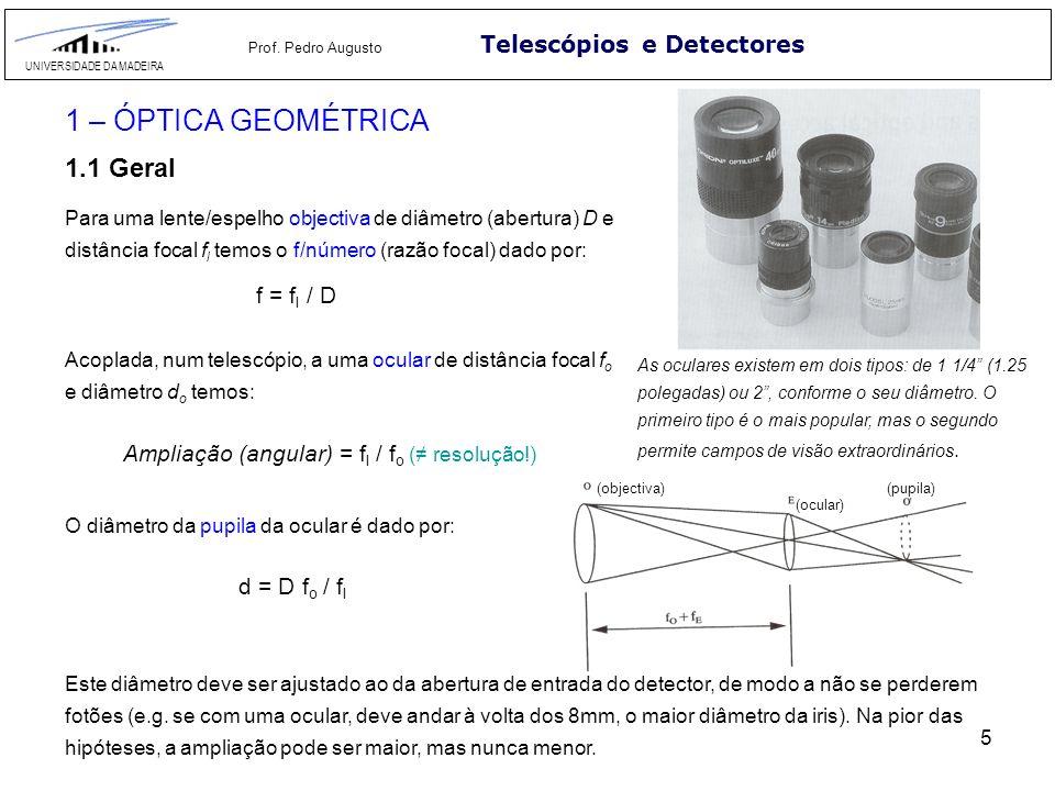 1 – ÓPTICA GEOMÉTRICA 1.1 Geral Telescópios e Detectores f = fl / D