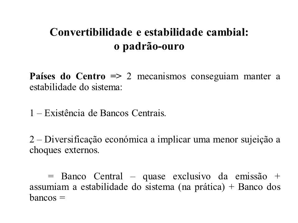 Convertibilidade e estabilidade cambial: o padrão-ouro
