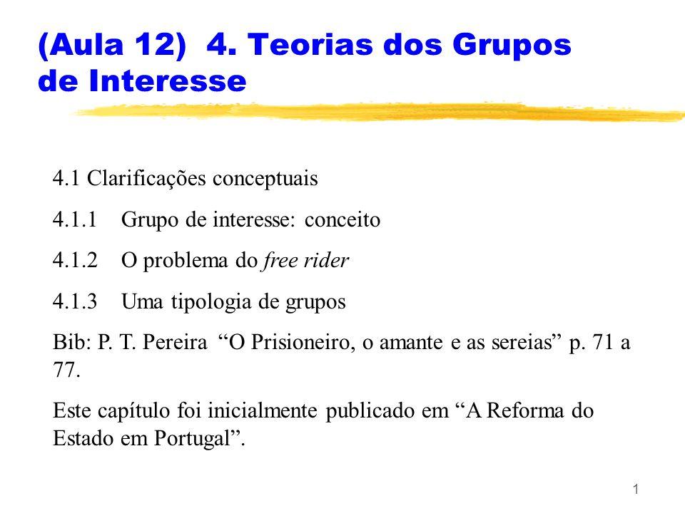 (Aula 12) 4. Teorias dos Grupos de Interesse