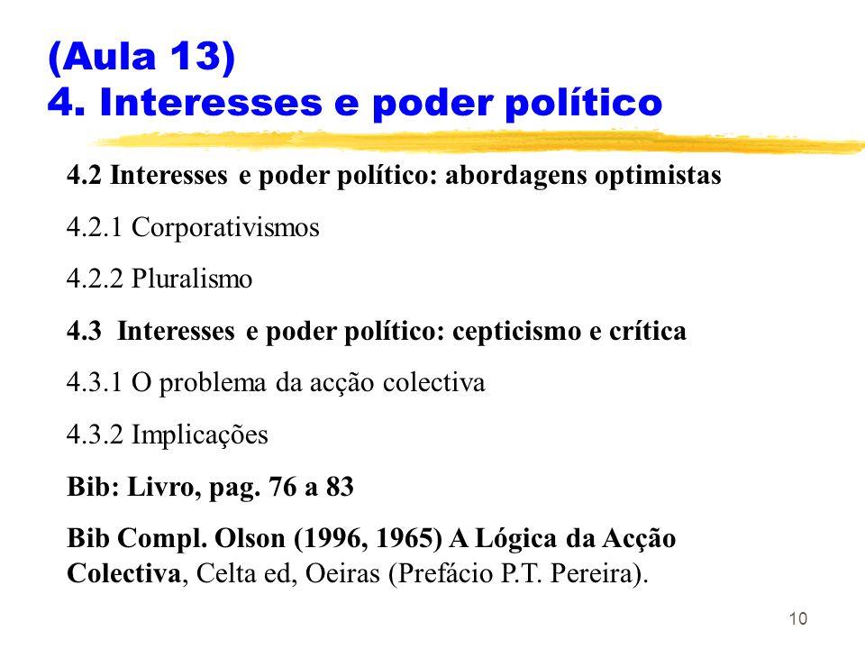 (Aula 13) 4. Interesses e poder político