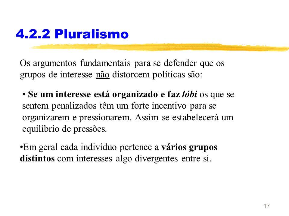 4.2.2 Pluralismo Os argumentos fundamentais para se defender que os grupos de interesse não distorcem políticas são: