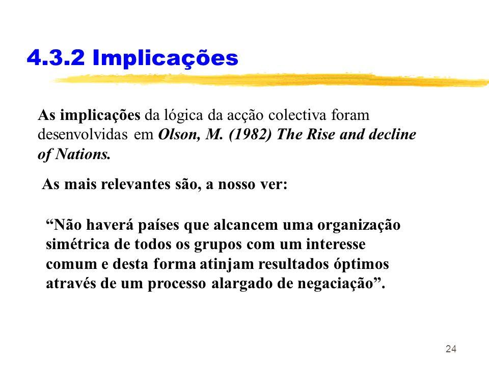 4.3.2 Implicações As implicações da lógica da acção colectiva foram desenvolvidas em Olson, M. (1982) The Rise and decline of Nations.