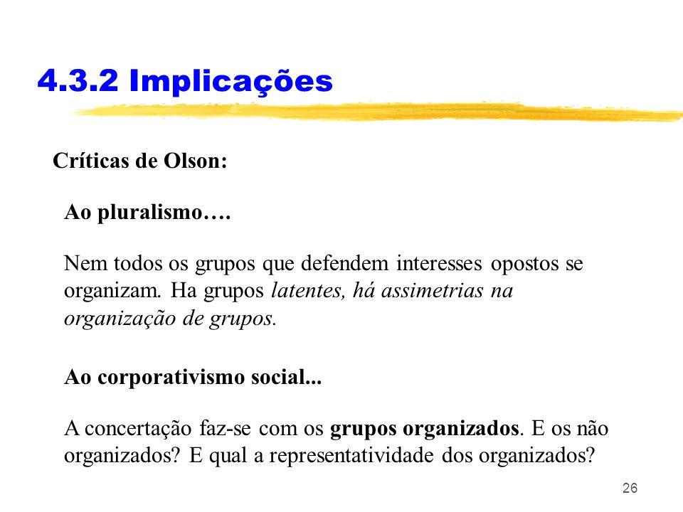 4.3.2 Implicações Críticas de Olson: Ao pluralismo….