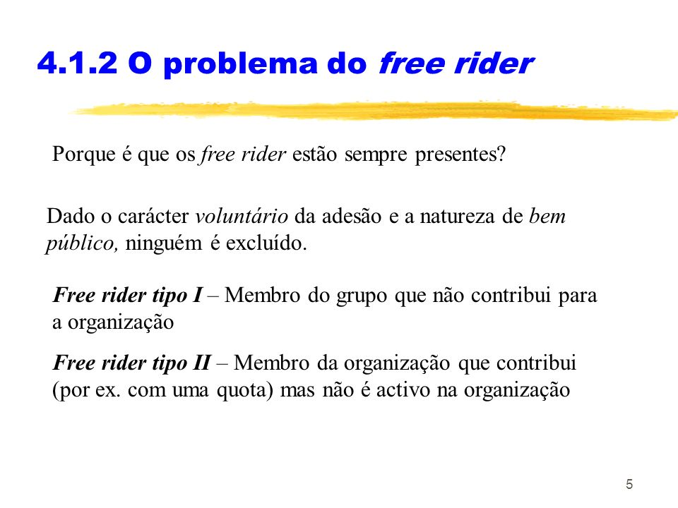 4.1.2 O problema do free rider