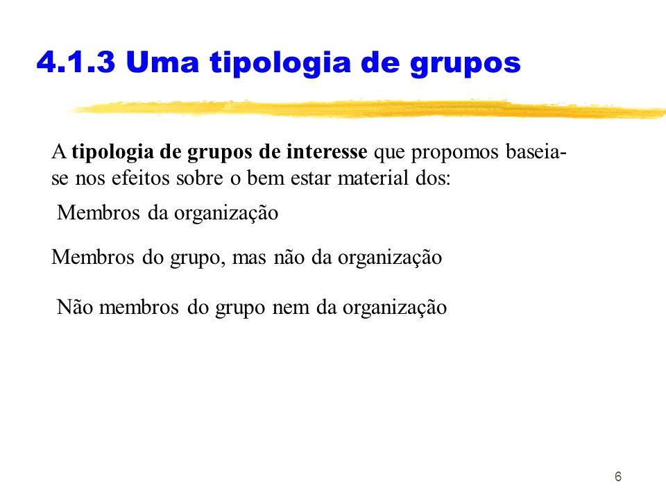 4.1.3 Uma tipologia de grupos
