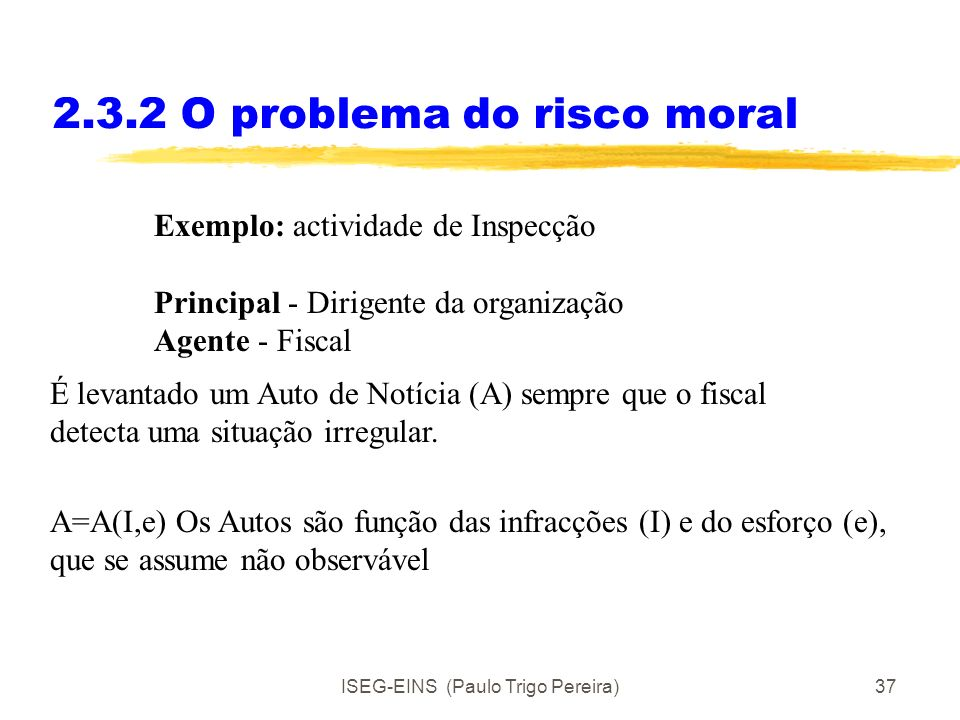 2.3.2 O problema do risco moral