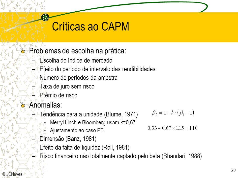 Críticas ao CAPM Problemas de escolha na prática: Anomalias: